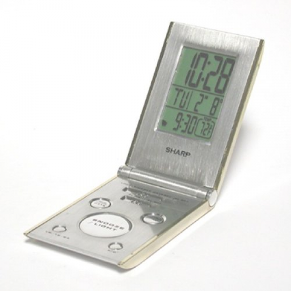 Features of SharpTech SPC303 LCD Travel Alarm Clock with Folding Metal ...
