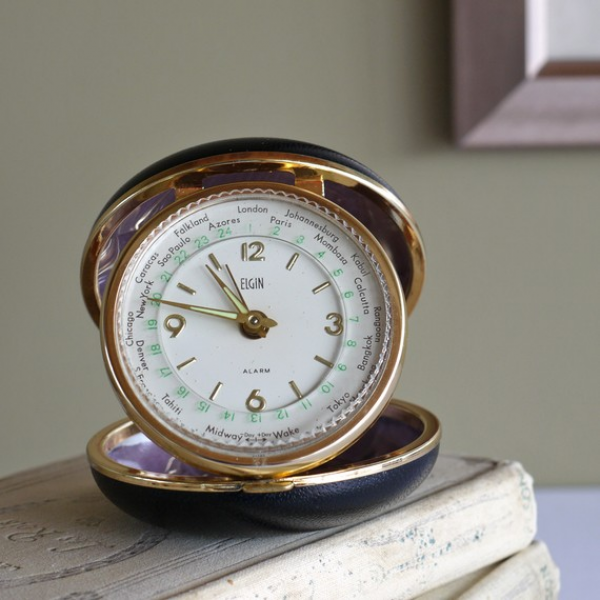 vintage small ELGIN world time TRAVEL alarm CLOCK