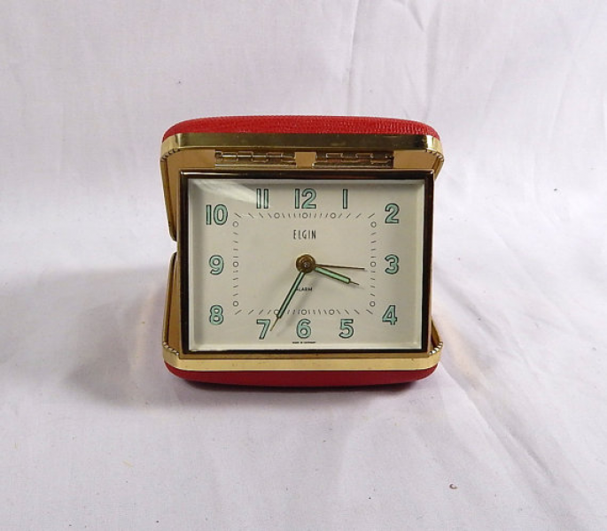 Vintage Elgin Travel Alarm Clock Red Case Made in by SkippiDiddle