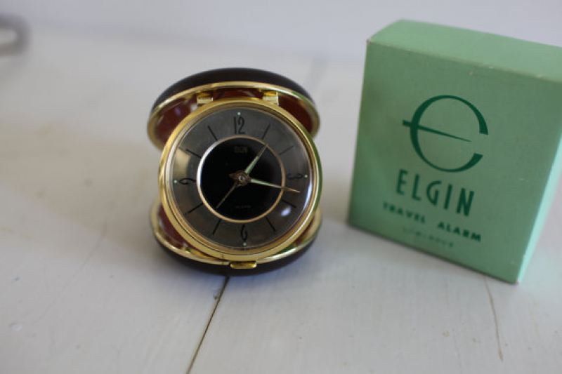 Vintage Elgin Luminous Travel Alarm Clock by hellohunny on Etsy