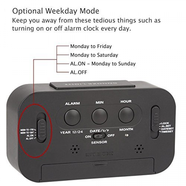Dual Alarms and Snooze Function - Travel Alarm Clock and Home Alarm ...