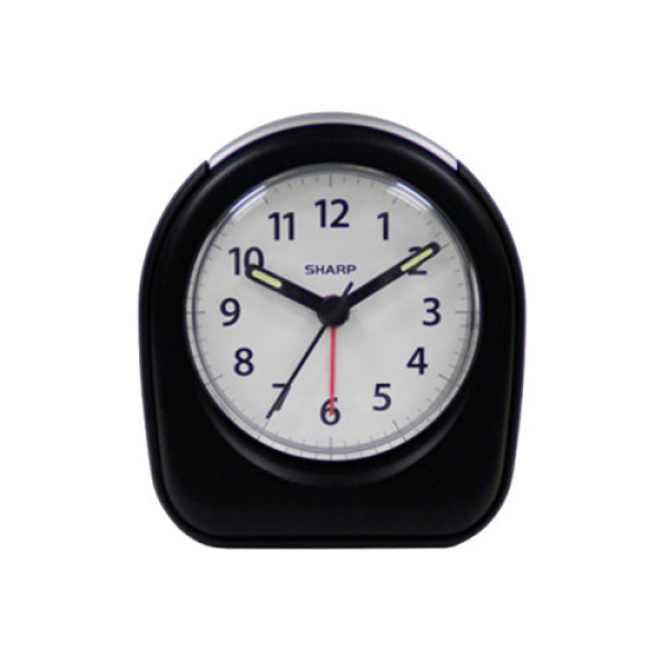 SHARP SMALL ANALOG TRAVEL ALARM CLOCK BatteryOpd BLACK Speedy Free US ...