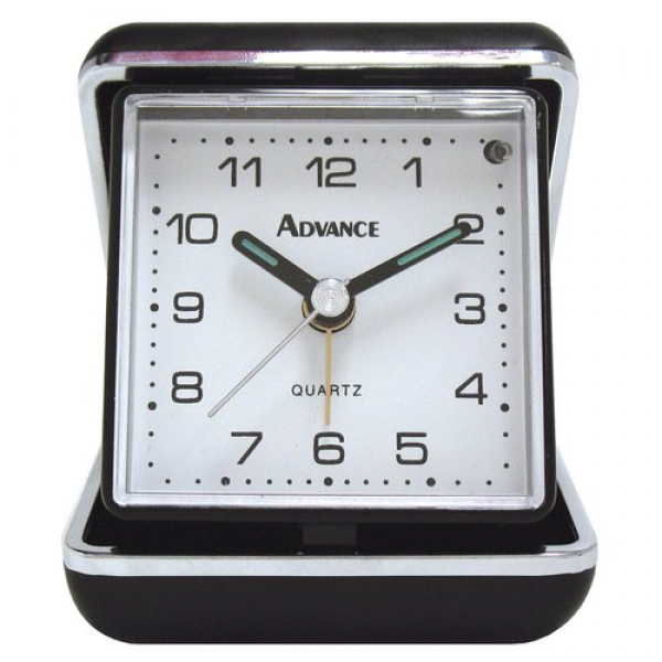 Geneva 3123AT Quartz Analog Travel Alarm Clock, Black/Silver