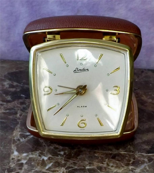 Details about Vintage Linden Travel Alarm Clock Brown Clamshell EUC