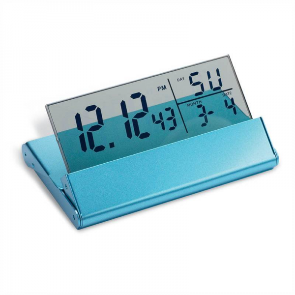 Details about Travel Digital Alarm Clock Light Blue Finish Calendar ...