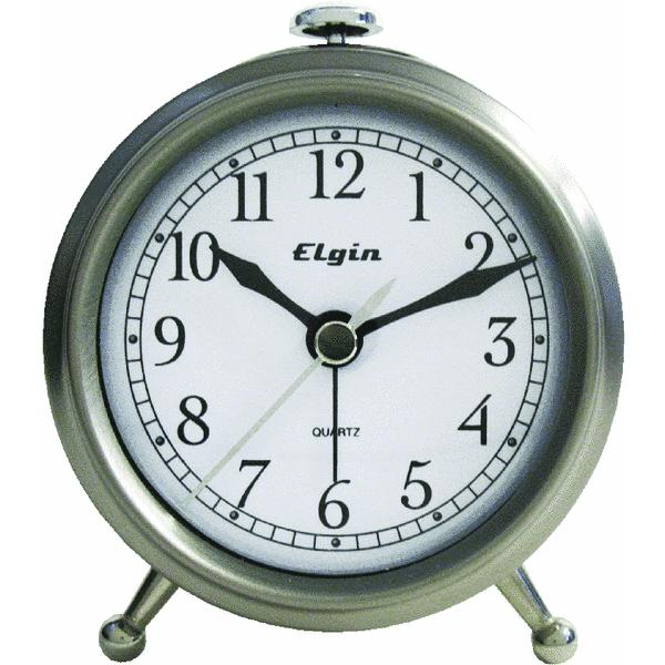 Geneva Clock Company 3514E Brushed Metal Battery Operated Alarm Clock ...