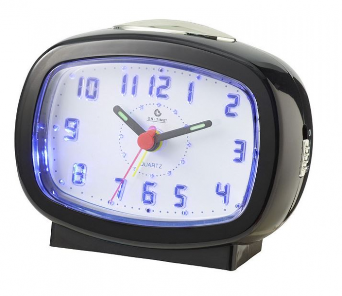 Details about Battery Operated Analog Alarm Clock with LED Light