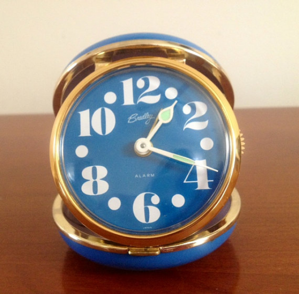 Vintage Round Travel Alarm Clock 1960's-1970's by VintageRiverview