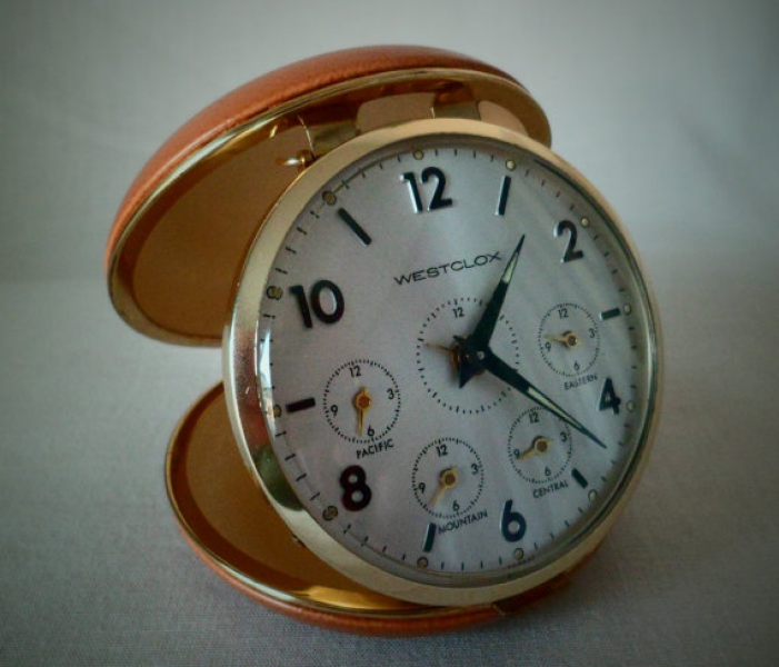 Vintage Time Zones Travel Alarm Clock by TallPoppiesShop on Etsy
