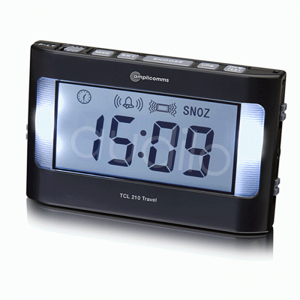 Amplicomms TCL 210 Vibrating Travel Alarm Clock :: Sports Supports ...