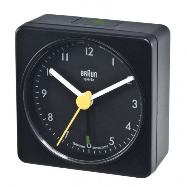 Braun Square Analog Travel Alarm Clock at Brookstone—Buy Now!
