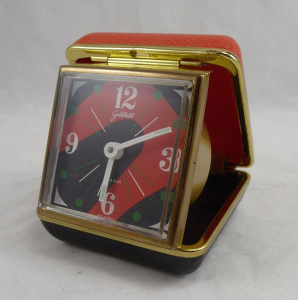 Retro Goldbuhl Square Desk Travel Alarm Clock Orange Green Black West ...