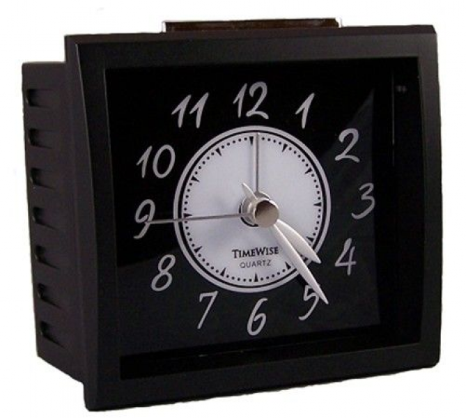 TimeWise TW15007 Oxford Collection Non-Ticking Alarm Clock / Black