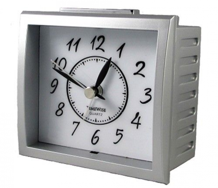 TimeWise TW15008 Oxford Collection Non-Ticking Alarm Clock / Silver