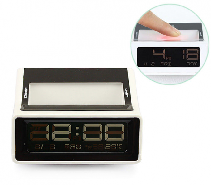 Digital LCD LED Desk Table Alarm Clock Thermometer Calendar Date ...
