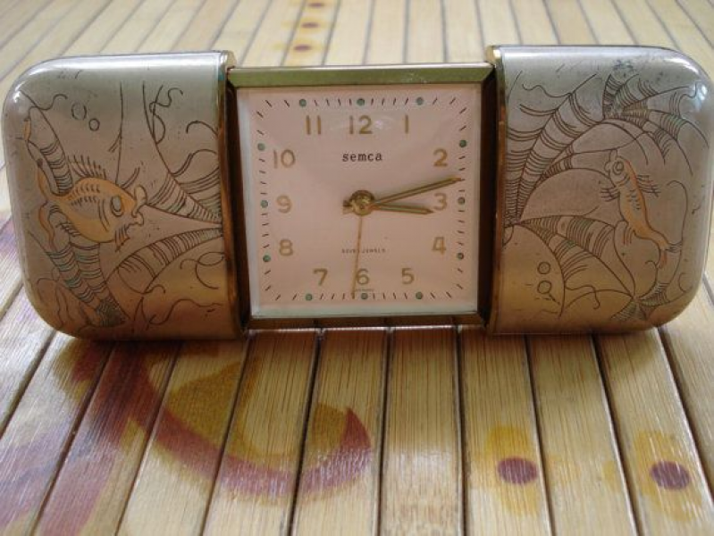 Vintage 1950s Wind Up Travel Alarm Clock Semca 7 Jewels 2013449 Fellow ...