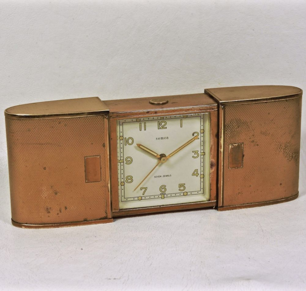 Vintage Semca Swiss Brass Wind Up Travel Alarm Clock Slider Case ...