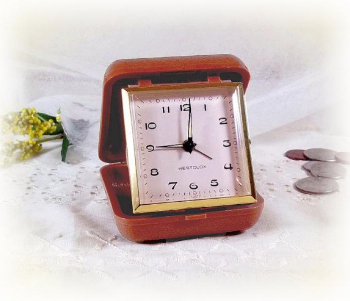 OLD Westclox Travel Alarm Clock - vintage wind up travel alarm clock ...