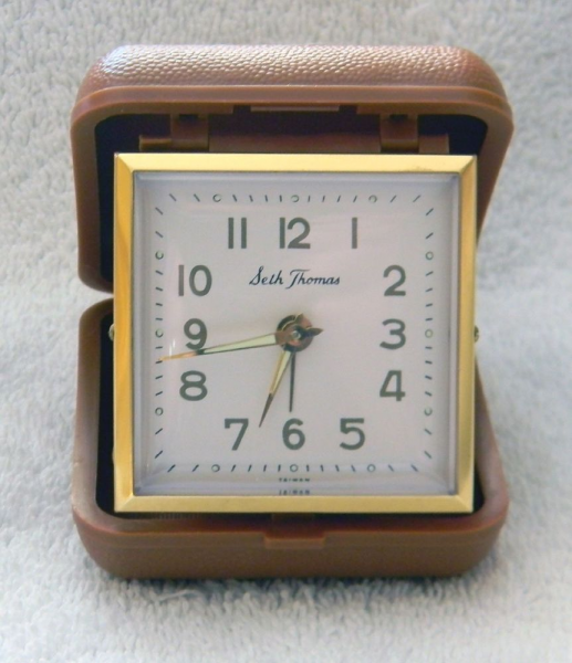 Vintage Seth Thomas Wind Up Travel Alarm Clock Square Case Taiwan ...