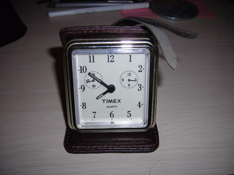 Vintage Timex Mini Alarm Clock Travel Table Desk Folding Leather Brown ...
