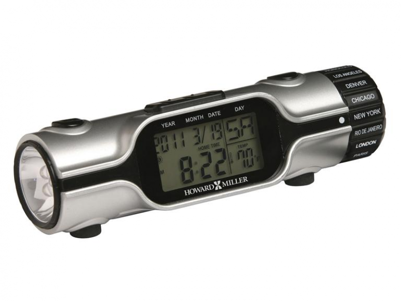 ... Item: Howard Miller Illuminated World Time LED Flashlight Alarm Clock