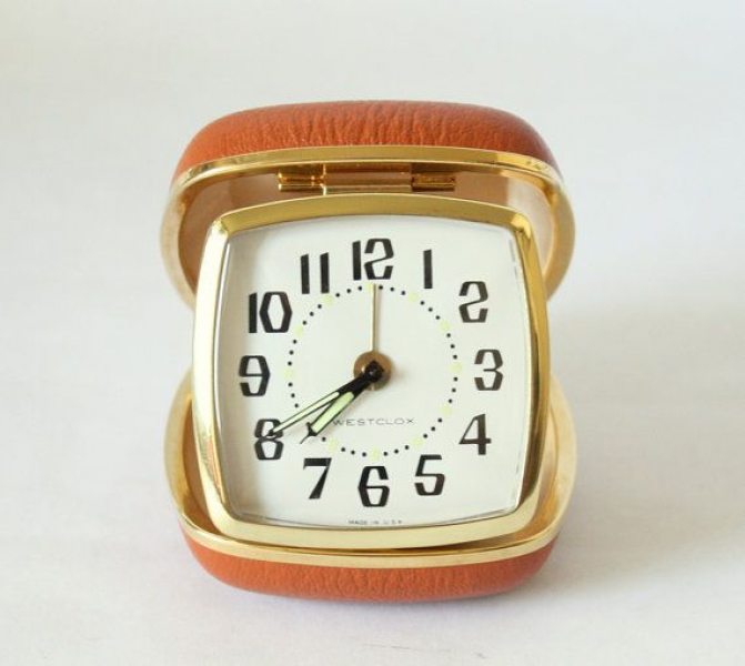 Vintage Westclox Travel Alarm Clock Model 42028 In Folding Brown/Burn ...