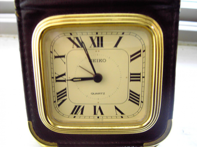 Vintage Clock Travel alarm Seiko RESERVED by beavercreekfarm
