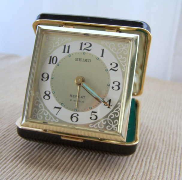 Seiko Vintage Travel Pocket Alarm Clock Trip Mate Keywound Green and ...