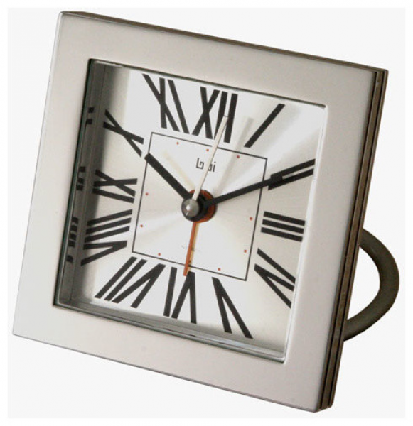 Roma Square Diecast Solid Metal Travel Alarm Clock modern-clocks