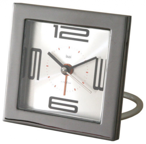Velocity Square Diecast Solid Metal Travel Alarm Clock modern-clocks