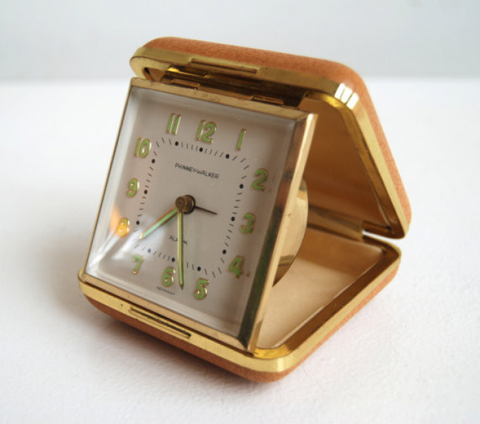 Mid-Century Pigskin Travel Alarm Clock - Modern - Alarm Clocks - by ...