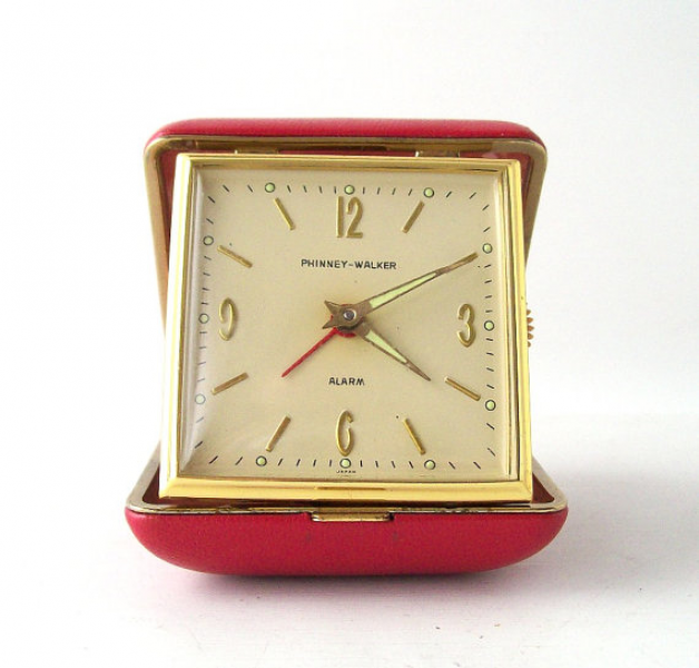 vintage travel alarm clock red case gold trim phinney walker in ...