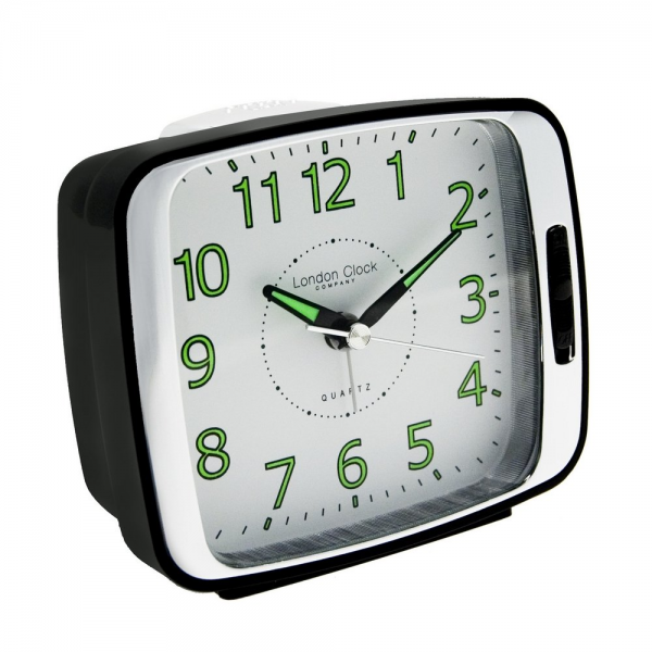 ... London Clock Co › London Clock Co Black & Silver Classic Alarm Clock
