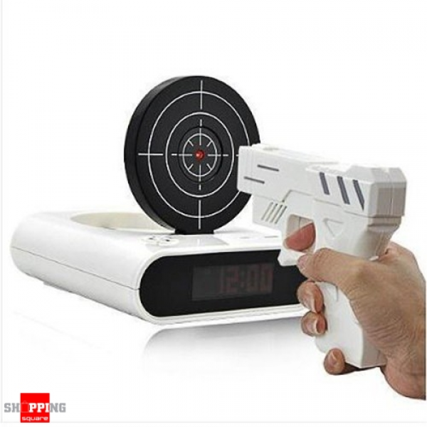LCD Laser Gun Shooting Target Alarm Clock White Colour ( Code: (DS)HOM ...