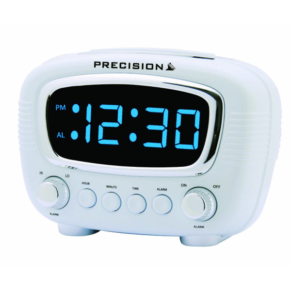 Electric Radio Controlled LED Alarm Clock Accurate Precision White ...