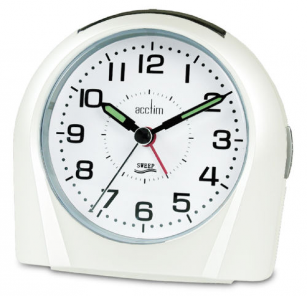 ... about Acctim Europa Non Ticking Silent Sweeper White Alarm Clock 14112