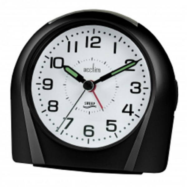 ... about Acctim Europa Non Ticking Silent Sweeper Black Alarm Clock 14113