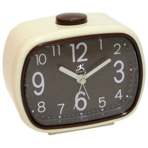 Infinity Instruments That 70's Retro Alarm Clock in Cream with Brown ...