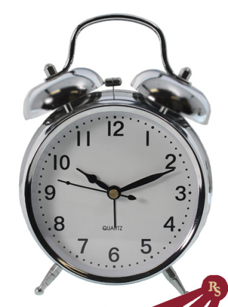 Silver Finish Double Bell Alarm Clock - Nautical Clocks