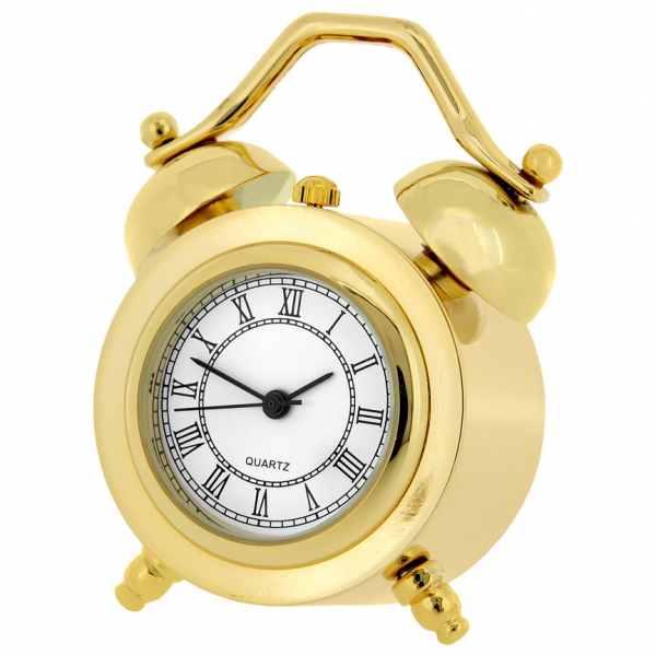 Miniature Collectible Classic Twin Bell Alarm Clock Gold Tone | eBay