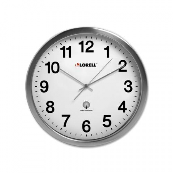 Lorell Brushed Nickel Plated Alarm Wall Clock LLR61001 - Walmart.com