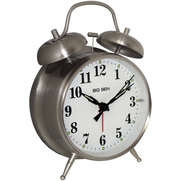 ... Westclox Big Ben 4 1/2 Twin Bell Brushed Nickel Metal Alarm Clock