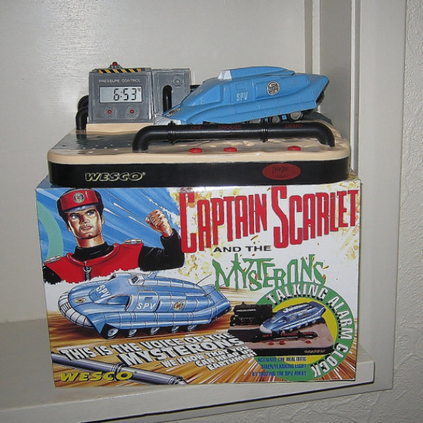 Captain Scarlet Alarm Clock With Box by AKClocks on Etsy