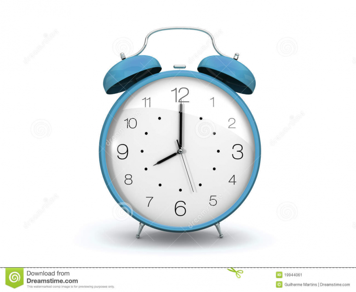 3d frontal render of a light blue alarm clock. Isolated on white.