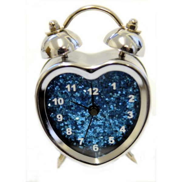 Light Blue Heart Shaped Alarm Clock With Glitter