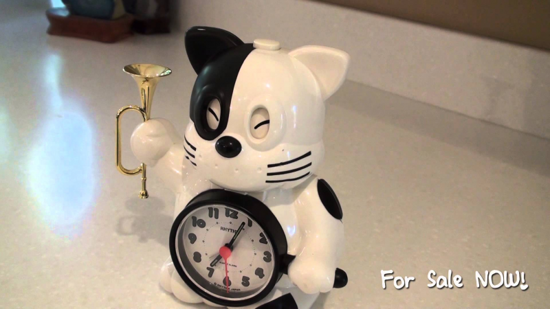 Vintage Rhythm Japan Cat Alarm Clock — Plays Bugle Reveille ...