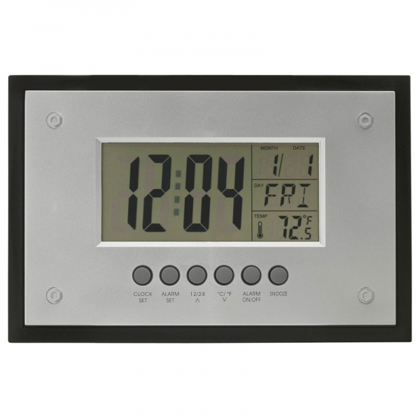 Wall mount or desktop clock with large LCD display, alarm clock ...