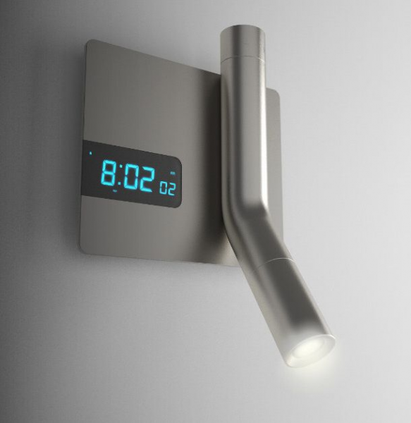 reading light, flashlight, and alarm clock- all wall mounted; GENIUS!