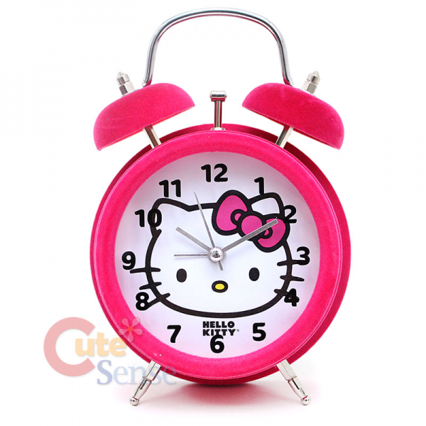 Details about Sanrio Hello Kitty Twin Bell Alarm Clock Table Watch ...