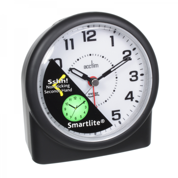 alarm clock white face black numbers clock features non ticking sweep ...